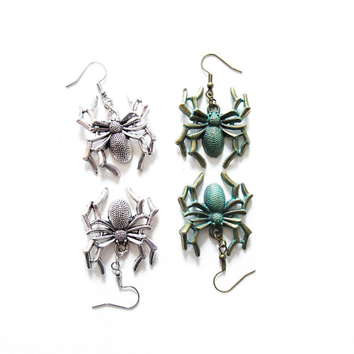 Spider Earrings Silver or Brass