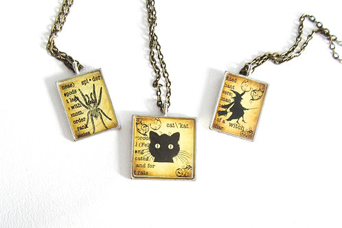 Vintage Style Tile Necklace Witch Cat Spider