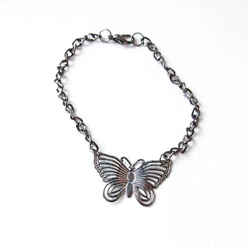 Gunmetal Butterfly Bracelet