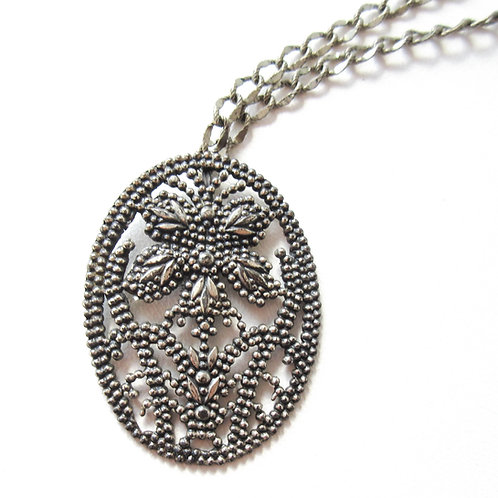 Accessocraft NYC Faux Cut Steel Flower Necklace