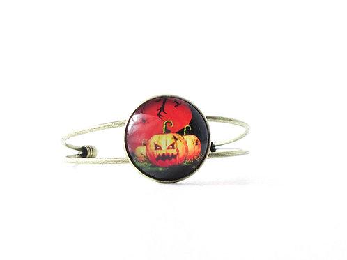 Angry Jack O Lantern Cuff Bracelet