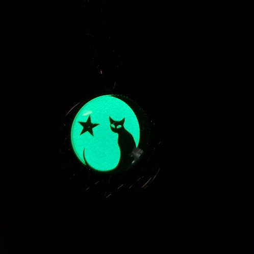 Glow in the Dark Black Cat Necklace with Star