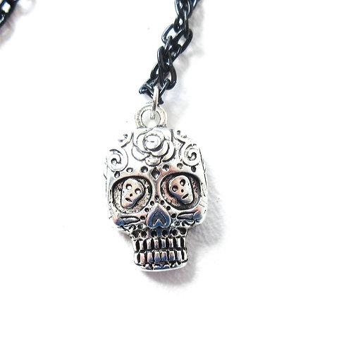 Silver Tone Sugar Skull on Black Chain