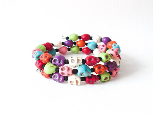Rainbow Skull Wrap Bracelet