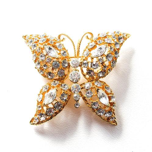 MJ Ent Rhinestone  Butterfly Brooch