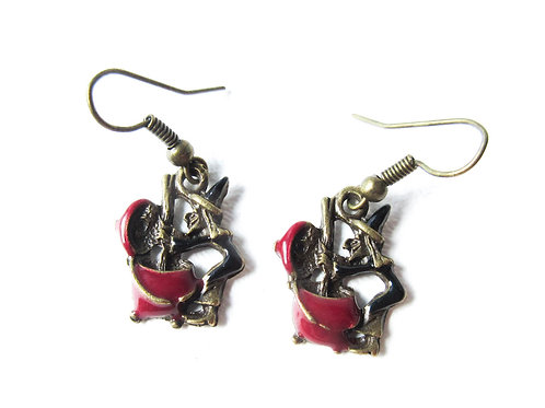 Witch and Cauldron Earrings Red and Black Enamel