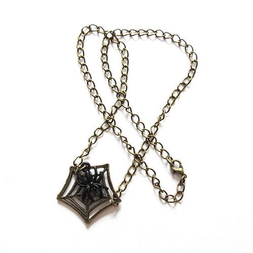 Antique Brass Spiderweb Necklace