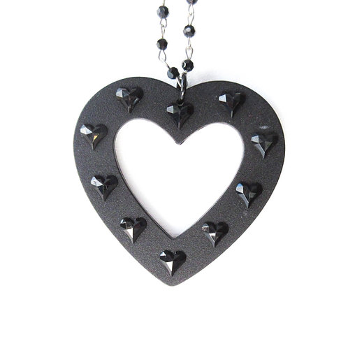 Heart Statement Rosary Necklace