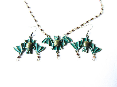 Green Bat Necklace and Earring Set
