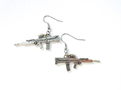 Silver Tone Rifle Earrings