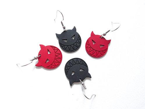 Devil Earrings Red or Black