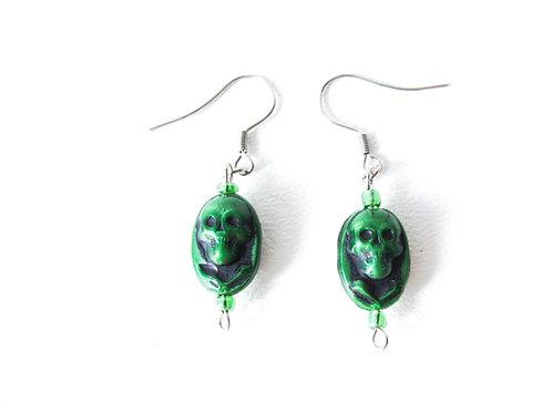 Green Czech Glass Skull Earrings