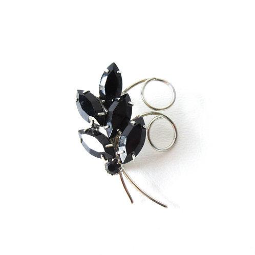 Vintage Black Rhinestone Leaf Pin Small