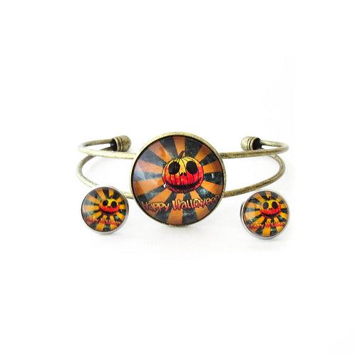 Happy Halloween Stiped Jack O Lantern Bracelet and Earring Set