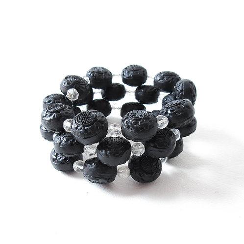 Black Cinnabar Memory Wire Bracelet