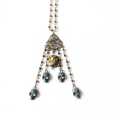 Gold Skull Cascade Necklace