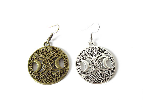 Celtic Moon Earrings Silver or Brass Tone