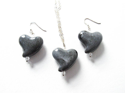 Porcelain and Sterling Silver Heart Necklace and Earring Set