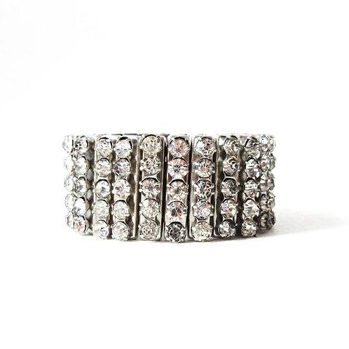 Vintage Rhinestone Stretch Bracelet Wide