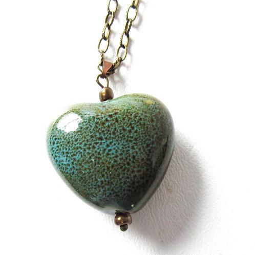 Green Porcelain Heart Necklace