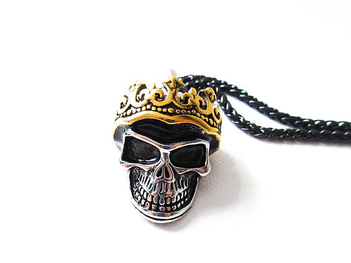 Stainless Steel Two Tone Skull with Crown Necklace