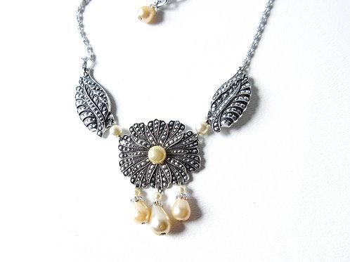 Vintage Faux Marcasite Flower Necklace
