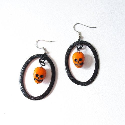 Orange and Black Skull Earrings