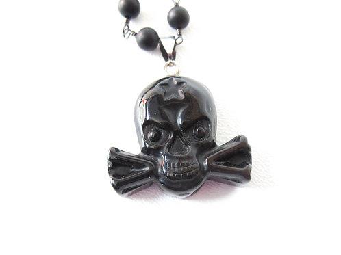 Black Agate Skull Necklace