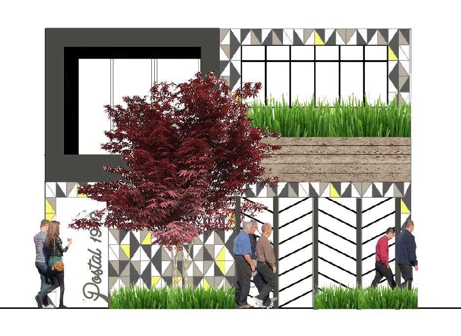 Diseño de fachada para hostal. Hostel facade