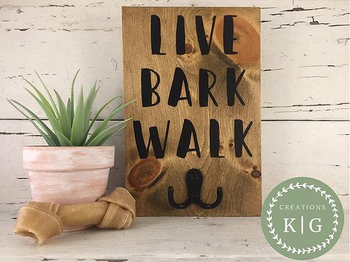 Affiche porte-laisse - live bark walk