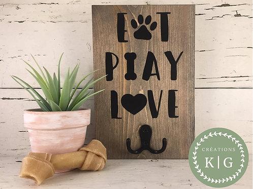 Affiche porte-laisse - eat play love pictos