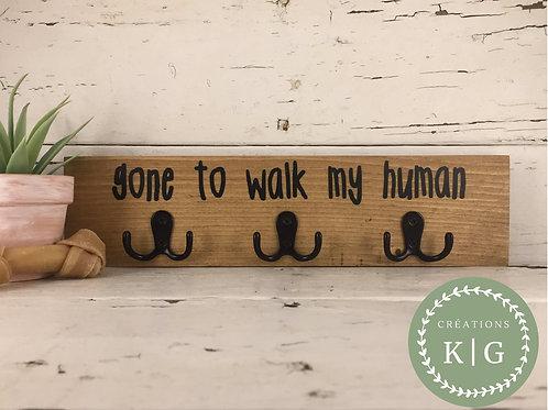 Affiche porte-laisse - Gone to walk my human