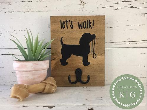 Affiche porte-laisse - let's walk