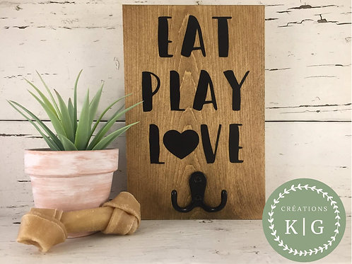 Affiche porte-laisse - eat play love
