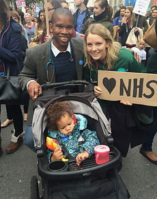 A sleepy supporter of the junior doctors in 2016