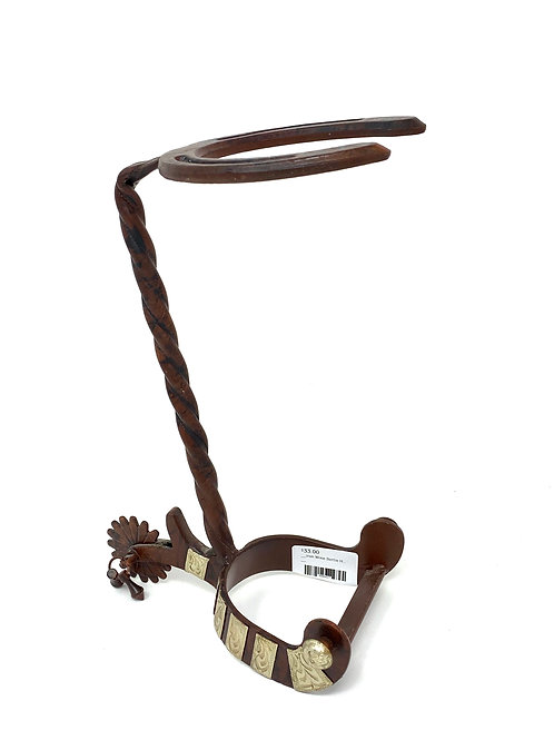 Iron Wine Bottle Holder w/Spur & Horseshoe