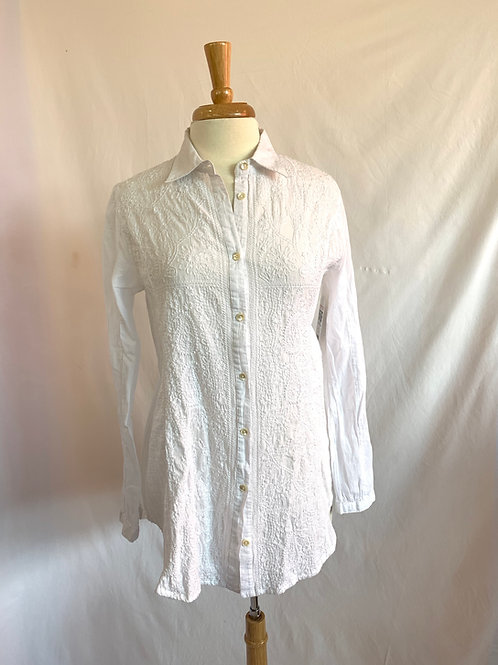 Embroidered White Shirt -- Sz M