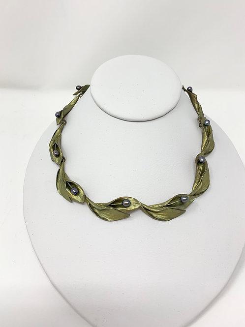 Michael Michaud Hosta Lilies Bronze Necklace w/ Silver Seasons Pearls