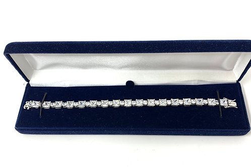Tennis Bracelet - Sterling Silver & Princess Cut Cubic Zirconia