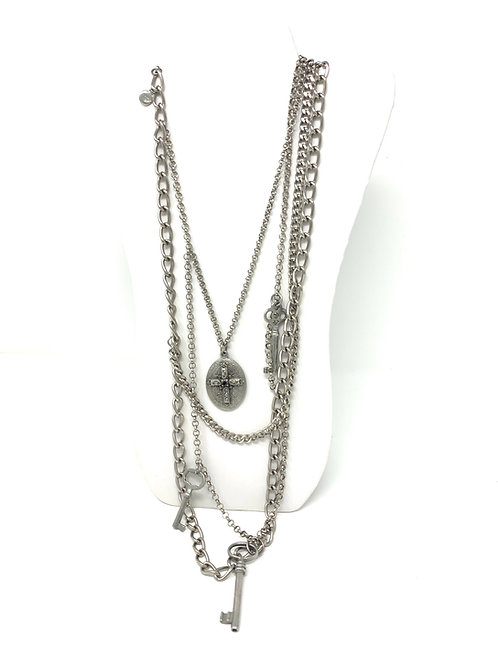 Ben Amun RARE Layered Necklace w/Cross + Keys