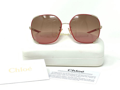 CHLOÉ SUNGLASSES CE109SL Lt. Red leather-wrapped metal frame w/CASE