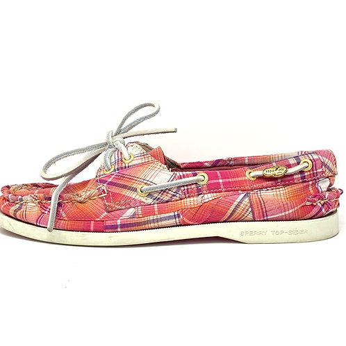 Sperry Topsiders Pink Plaid - Sz 7