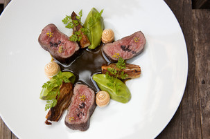 Flavors of Gin: New Zealand Red Deer, Juniper Meringue, Cilantro-Celery Root Purée, Licorice Jus, and Roasted Fennel