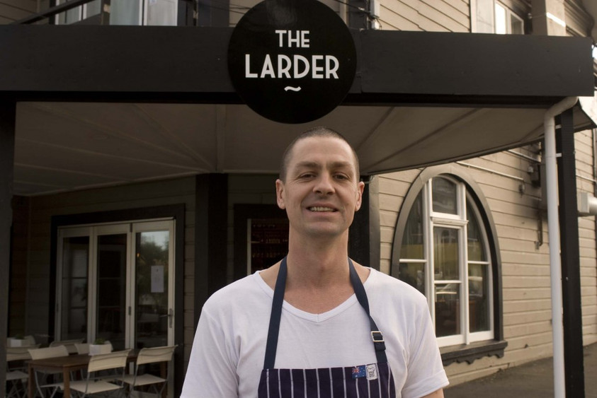 Chef Jacob Brown outside The Larder, Wellington, New Zealand