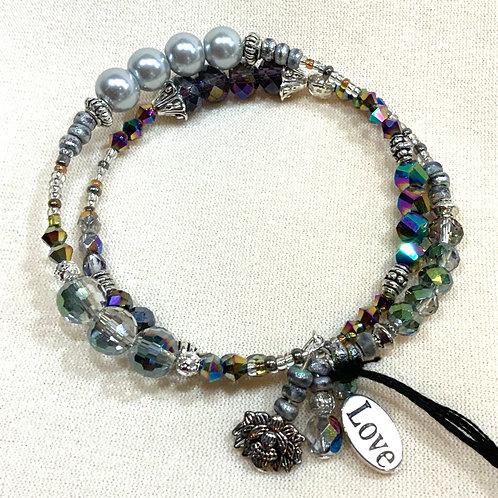 Memory Wire Bracelet - Silver Blues