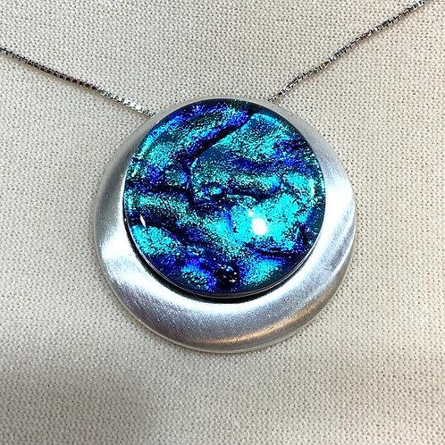Dichroic Glass Pendant - medium blue