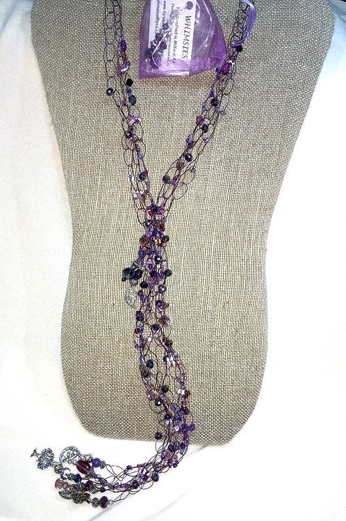 Crocheted Dropdown Necklace - Purples