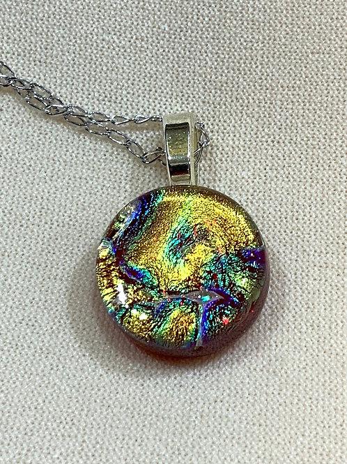 Small Dichroic Glass Pendant -multicolored