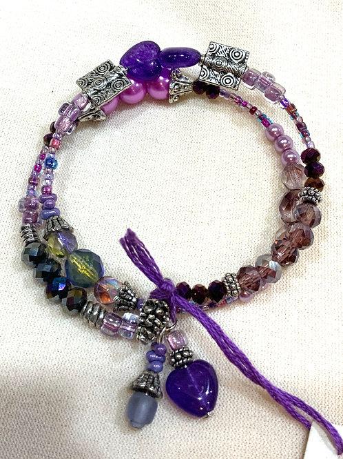 Memory Wire Bracelet -Purple Greens