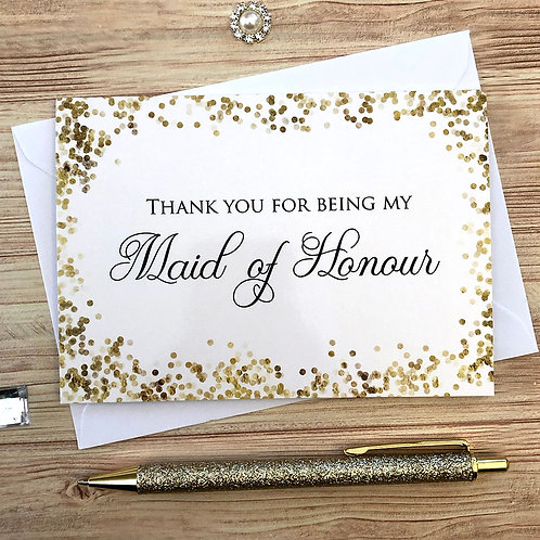 Thank you for being my Maid of Honour - Card
